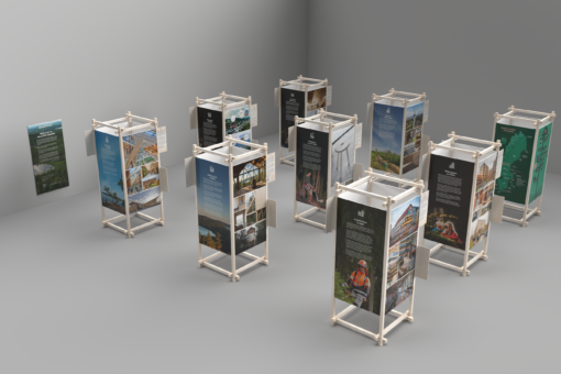 Image of the exhibition mounted in wooden modules