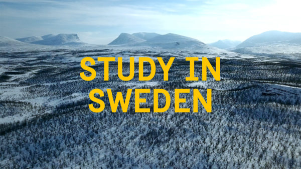Image of mountains with the text Study in Sweden written over it
